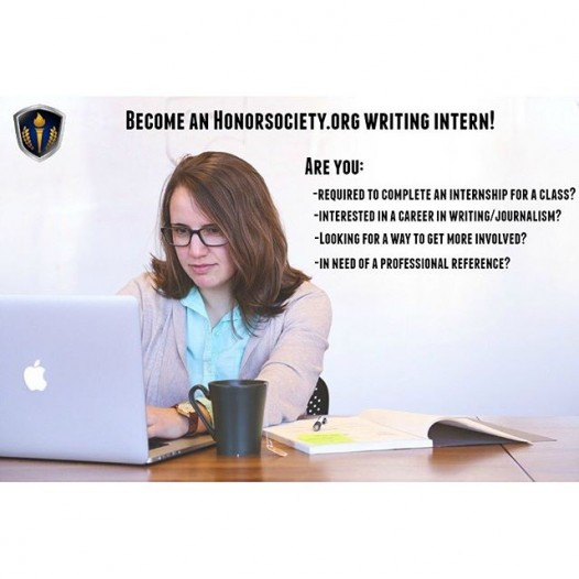 Do you need an internship for credits? Perhaps you're interested in a career in Journalism? Maybe you're looking for a way to boost your resume… Apply to become an HonorSociety.org Writing Intern, today! http://bit.ly/1VIUsZo