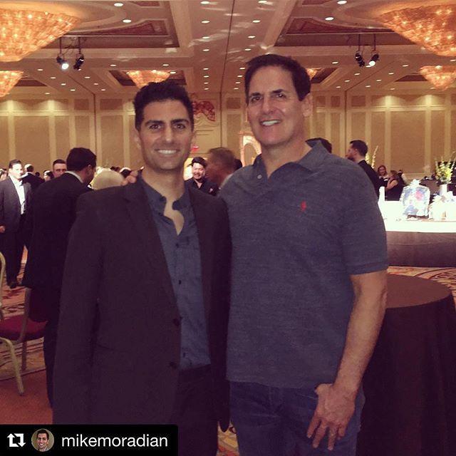"""Such a privilege to exchange notes with Mark Cuban. """"Sweat equity is the most valuable equity there is. Know your business and industry better than anyone else in the world. Love what you do or don't do it."""" @mcuban #sharks"""